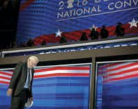 Bernie Sanders walks off the stage following his speech at the Democratic National Convention in Philadelphia on July 25. After waging a hard-fought primary campaign, Sanders endorsed his rival Hillary Clinton.(G.J. McCarthy)