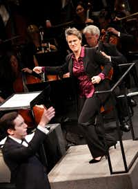 Alexandra Cravero conducts, with tenor Jonas Hacker, during the Institute For Women Conductors event at the Winspear Opera House in Dallas, TX, on Dec. 10, 2016. (Jason Janik/Special Contributor)(Special Contributor)