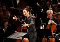 Chaowen Ting conducts during the Institute For Women Conductors event at the Winspear Opera House in Dallas, TX, on Dec. 10, 2016. (Jason Janik/Special Contributor)(Special Contributor)
