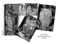 Denton police photos taken at Santos Coria's house on Topeka Street in West Dallas during a search in July 2009 show a closet with shirt pockets stuffed with money. ((Denton County district attorney's office))