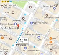 How close is Bergdorf Goodman to the Trump Tower? Google Maps says it's a 1-minute walk.(Google Maps)