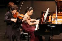 Violinist Augustin Hadelich and pianist Joyce Yang perform Ludwig Van Beethoven's Sonata No. 8 in G major, during the Chamber Music International Concert #3, on Friday, Dec. 02, 2016 at the Dallas City Performance Hall in Downtown Dallas. (Ben Torres/Special Contributor)(Special Contributor)