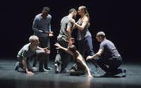 Members of the Kidd Pivot dance company rehearsed €œ<i>Betroffenheit</i> € at the Dallas City Performance Hall in April. (Robert W. Hart/Special Contributor)