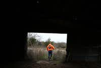 Dennis Abercrombie walks through a shed in northern Collin County during a recent search. ((Rose Baca/Staff Photographer))