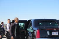 "<p>President Barack Obama returned to his presidential limo during a stop in Pittsburgh in October. (Todd J. Gillman/Staff<span style=""background-color: rgba(230, 93, 80, 0.2);"">)</span></p>"