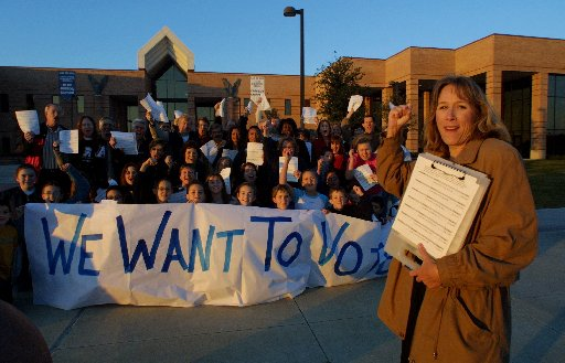 This 2002 photo shows how Brenda Rizos' civic activism began. She led a petition drive seeking the right to vote on whether to keep middle and high school students at Allen High or create a Lovejoy ISD secondary school. She's been an ISD activist ever since, frustrating her superintendent, Ted Moore. ((File photo))