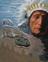 Dave Smith, <i>Spirit of the Lakota, 2016</i>, Gouache on paper 28 x 42 inches Courtesy of Airbus Helicopters, Inc.(Airbus Helicopters, Inc.)