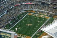 "Baylor University fans packed McLane Stadium during the inaugural game against Southern Methodist University in Waco on Sunday, August 31, 2014.(<p>(<span style=""font-size: 1em; background-color: transparent;"">Joe Griffin/</span><span style=""font-size: 1em; background-color: transparent;"">Special Contributor)</span></p>)"