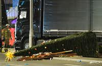 View of the truck that crashed into a christmas market at Gedächniskirche church in Berlin, on December 19, 2016 killing at least nine people and injuring at least 50 people. (AFP/Getty Images)