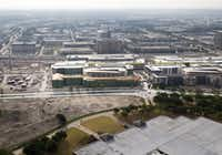 Construction continued on Legacy West Urban Village in the Legacy West project at the intersection of the Dallas North Tollway and Sam Rayburn Tollway in Plano in July. (Vernon Bryant/Staff Photographer)