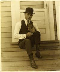 "George Herriman and cat, circa 1922.   From  <i>Krazy: George Herriman, a Life in Black and White</i>, by Michael Tisserand. (<p><span style=""font-size: 1em; background-color: transparent;"">Courtesy of Dee Cox</span><br></p><p></p>)"