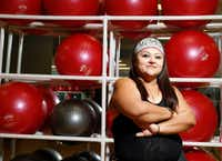 AFTER: Monica Flores takes Zumba classes weekly at Texas Family Fitness in Allen. By cutting back on sugar and carbohydrates, and committing to a regular exercise program, she's dropped 77 pounds ... and counting. (Nathan Hunsinger/Staff Photographer)<div><br></div>