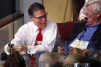 Former Texas Gov. Rick Perry watches from a suite on the final day of the Republican National Convention on in July in Cleveland. (Smiley N. Pool/The Dallas Morning News)(Staff Photographer)