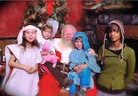 NorthPark Center Santa takes a photo with Marina Trahan Martinez's children in 2009. The kids were in costume for the St. Thomas Aquinas Catholic Church Christmas pageant. (Left to right) Alakina, 5, Magnolia, 3, Micah, 3, Bunny, 15. Marina works on The Watchdog desk.((Marina Trahan Martinez))