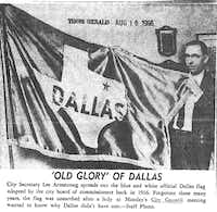 This was NOT the flag. Instead it came from SMU students in 1954.((Dallas Municipal Archives))
