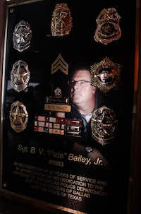Retired Dallas police officer Pete Bailey is reflected in a plaque of his decorations. ((Lawrence Jenkins/Special Contributor))