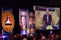 "<p><p>Former NASA flight director Eugene ""Gene"" Kranz gave his acceptance speech after being inducted into the National Aviation Hall of Fame in October 2015. (Ron Kaplan/National Aviation Hall of Fame)</p></p>"