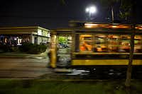 The McKinney Avenue Trolley No. 122 at night.((2014 File Photo/Staff))