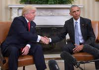President Barack Obama met with President-elect Donald Trump days after the election. AFP/Getty Images(AFP/Getty Images)