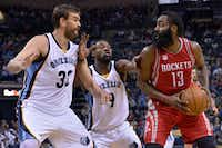 Houston Rockets guard James Harden (13) controls the ball against Memphis Grizzlies center Marc Gasol (33) and guard Tony Allen (9) during the first half of an NBA basketball game Friday, Dec. 23, 2016, in Memphis, Tenn. (AP Photo/Brandon Dill)(AP)