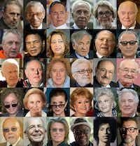 This combination of pictures created on December 29, 2016 shows public figures who passed away in 2016 (from top L) Former Cuban President Fidel Castro, Boutros Boutros-Ghali, Thai King Bhumibol Adulyadej, Israeli President Shimon Peres, Former US first lady Nancy Reagan, US Senator and astronaut John Glenn, Former Dutch football player Johan Cruyff, US boxing legend Muhammad Ali, Iraqi architect Zaha Hadid, Nobel Prize winner Elie Wiesel, Hungarian writer and literature Nobel prize Imre Kertesz, Iranian film director Abbas Kiarostami, US photographer Bill Cunningham, Italian writer, litterature nobel prize winner and actor Dario Fo, US film director and actor Gene Wilder, Italian film director Ettore Scola, Italian writer Umberto Eco, Polish film director Andrzej Wajda, US film director Michael Cimino, French actress Michele Morgan, US actress Carrie Fisher, US actress Debbie Reynolds, US actress Zsa Zsa Gabor, British actor Alan Rickman, Rene Angelil, husband and manager of the singer Celine Dion, Canadian singer Leonard Cohen, British singer David Bowie, Congolese singer Papa Wemba, US singer Prince, British singer George Michael. (AFP/Getty Images)(ADALBERTO ROQUE/AFP/Getty Images)