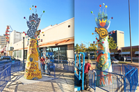 The 20-foot mosaic sculpture created and constructed by students standing at West Jefferson Boulevard.(Courtesy)