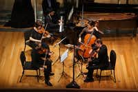 Pianist Haochan Zhang and the world-acclaimed Brentano String Quartet, performed Franck Piano Quintet at the Kimball Art Museum in Fort Worth, TX on Thursday October 27, 2016.(Special Contributor)