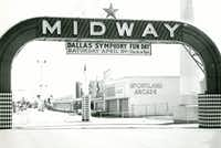 1967 photo provided by the State Fair of Texas, showing the historic Midway sign at Fair Park in Dallas and a banner for Dallas Symphony Fun Day, in April.((State Fair of Texas))