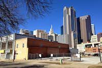 These buildings along Young Street are among 1.57 acres of privately owned property that the Belo Foundation has purchased to facilitate a new 3.8-acre park. The proposed Harwood Park is part of the 2013 update of the Downtown Parks Master Plan. <div><br></div>((File Photo/The Dallas Morning News))