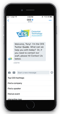 """<p><span style=""""font-size: 1em; background-color: transparent;"""">Conversable and Twitter worked together to develop a chatbot that can answer questions about CES.</span></p>(Courtesy of Conversable)"""