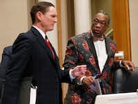 County Judge Clay Jenkins with County Commissioner John Wiley Price after a commissioners court meeting in Dallas on December 20, 2016. (Nathan Hunsinger/The Dallas Morning News)(Staff Photographer)