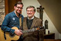 "Ryan Flanigan (left) with Nelson Koscheski after a performance at The Canterbury House at SMU on Thursday, Dec. 1, 2016.&nbsp;(<p><span style=""font-size: 1em; background-color: transparent;"">(Smiley N. Pool/The Dallas Morning News)</span><br></p><p></p>)"