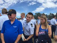 "Greg ""Spanky"" Barber (left) attended the Air Force Academy's parents day festivities in September with children Tim Barber and Becca Barber. (Photo submitted by KEITH CLIFTON)"
