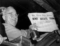 President Harry S. Truman triumphed over Thomas Dewey, despite what the Chicago Daily Tribune reported.((Byron Rolins/The Associated Press))