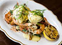 State of Grace, possibly the best brunch spot in Houston, is a welcome addition to the River Oaks scene. Grilled shrimp topped with poached eggs is just one lovely way to go.Julie Soefer