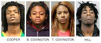 These booking photos provided by the Chicago Police Department show, from left, Tesfaye Cooper, Brittany Covington, Tanishia Covington and Jordan Hill, four people charged, Thursday, Jan. 5, 2017, with aggravated kidnapping and taking part in a hate crime after allegedly beating and taunting a man in a video broadcast live on Facebook. (Chicago Police Department via AP)(AP)