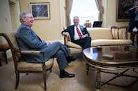 Former Exxon Mobil CEO Rex Tillerson (right, with Senate Majority Leader Mitch McConnell) didn't donate to Donald Trump's campaign, though his wife did. Trump has selected Tillerson to be his secretary of state. (Doug Mills/The New York Times)