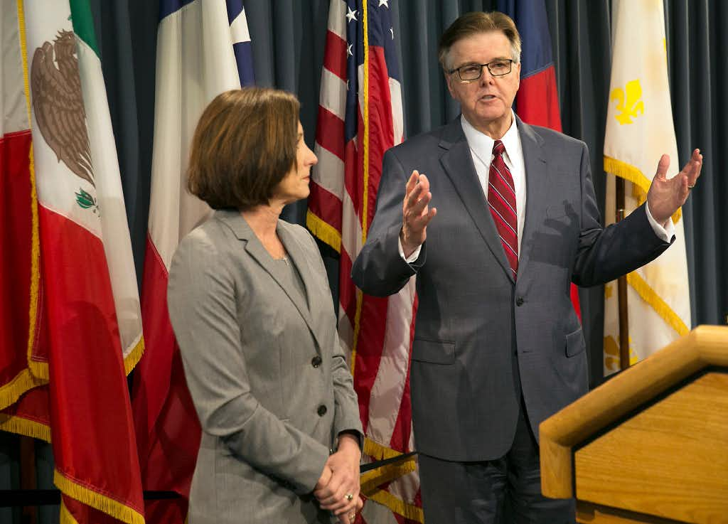 Lt. Gov. Dan Patrick and Sen. Lois Kolkhorst introduced Senate Bill 6, known as the Texas Privacy Act, which responds to the federal mandate of transgender bathrooms, showers and dressing rooms in all Texas schools. (Ralph Barrera/Austin American-Statesman)