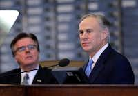 <p>Lt. Gov. Dan Patrick (left) says he has no interest in challenging Gov. Greg Abbott. (File/The Associated Press)&nbsp;</p>