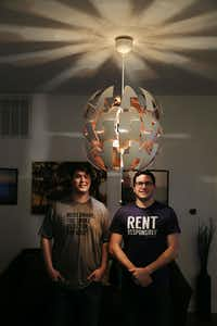 Andrew Schulz (left) and Dave Krauss cofounded NoiseAware after Krauss had a nightmare scenario with a woman who stayed at his short-term rental. His neighbors made numerous noise complaints and he had to move out of the building.(Andy Jacobsohn/Staff Photographer)