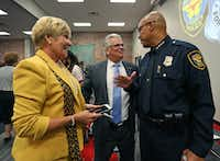 Fort Worth Mayor Betsy Price and City Manager David Cooke (center) were on hand for the ceremony when Joel Fitzgerald was sworn in as police chief in October 2015. (File Photo/Staff) (Dallas Morning News)