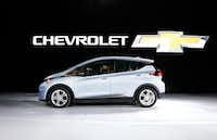 The Chevrolet Bolt, winner of the North American Car of the Year award, is on display at the North American International Auto Show in Detroit, Monday, Jan. 9, 2017. (AP Photo/Paul Sancya)(AP)