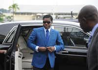 This file photo taken on June 24, 2013 shows  Teodoro (aka Teodorin) Nguema Obiang Mongue, the son of Equatorial Guinea's president, arriving at Malabo stadium for ceremonies to celebrate his 41st birthday. AFP PHOTO / JEROME LEROY/AFP/Getty Images(AFP/Getty Images)