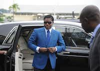 This file photo taken on June 24, 2013 shows  Teodoro (aka Teodorin) Nguema Obiang Mongue, the son of Equatorial Guinea's president, arriving at Malabo stadium for ceremonies to celebrate his 41st birthday. AFP PHOTO / JEROME LEROY/AFP/Getty ImagesAFP/Getty Images