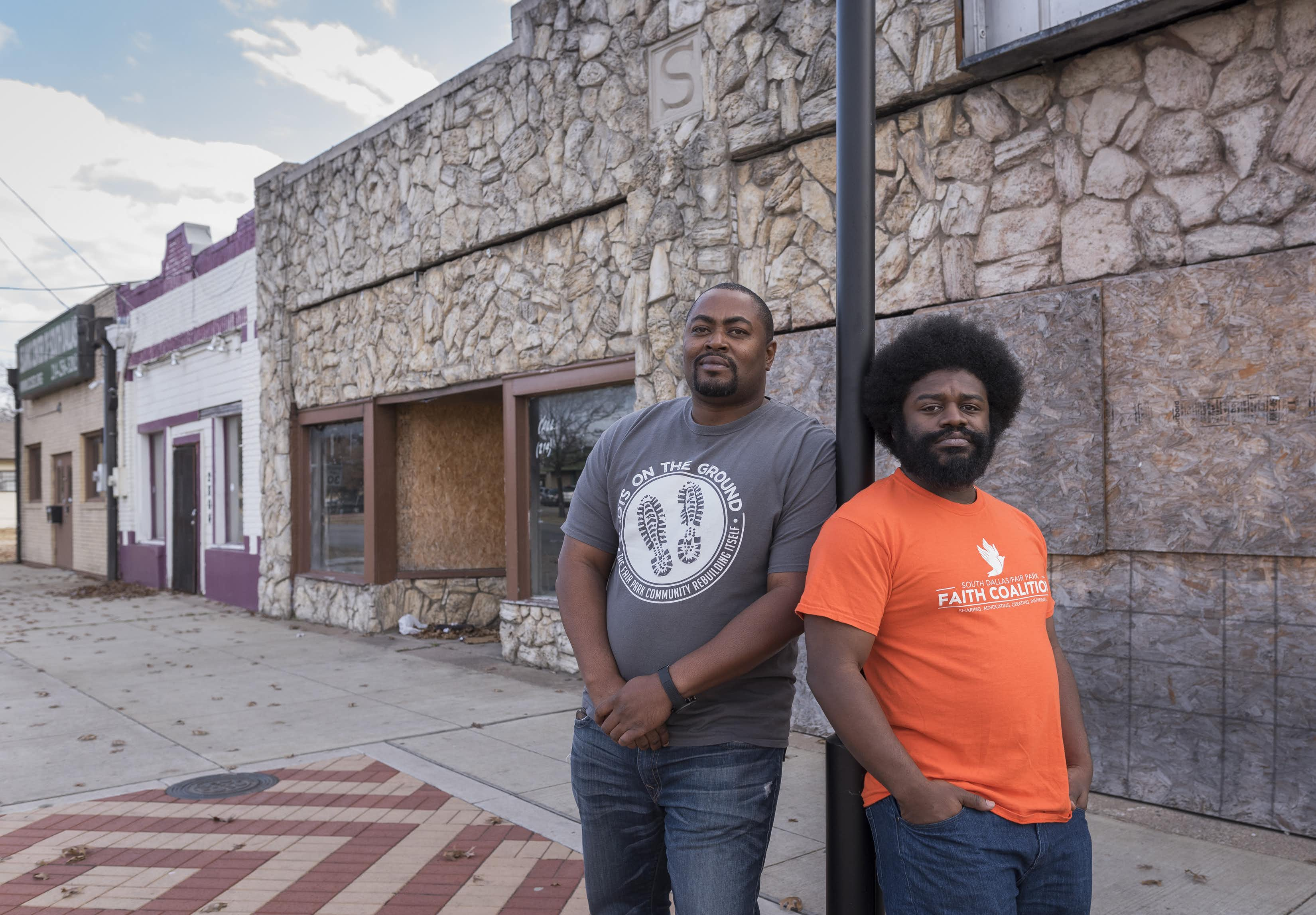 Jay Scroggins, left, and George Battle III plan to open the Fair Park District Entrepreneur Center in the building in the background at Martin Luther King Jr. Blvd. and Malcolm X Blvd.  The goal of the center is to provide tools to local residents who would like to start or grow their business.Rex C. Curry/Special Contributor