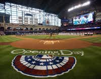 Arches along the outfield wall at Minute Maid Park are about 30 feet high, while those at the new Rangers ballpark will be at least 110 feet high if preliminary designs remain in place.((Ffile photo/Staff))