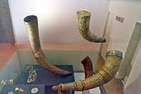 Objects from Viking life, like these drinking horns, are on display at the National Museum of Iceland, Reykjavik. (Paul Ross)