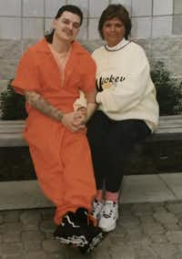 "<p>David Weigand poses with his mother, Deborah Mahlke, <span style=""font-size: 1em; background-color: transparent;"">while incarcerated in West Virginia. He was in his 20s at the time, his mother said.</span></p>Deborah Mahlke"