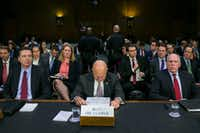 From left: FBI Director James Comey, National Intelligence Director James Clapper and CIA Director John Brennan  during a hearing about Russian interference in the U.S. presidential election, on Capitol Hill in Washington, Jan. 10, 2017. Brennan and other senior intelligence and law enforcement officials testified on Tuesday about Russian hacking during the presidential election  for the first time since the release of a declassified report on Russia's interference.(NYT)