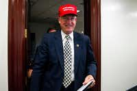"Rep. Mike Conaway, R-Texas, wearing a ""Make America Great Again"" hat, leaves a House Republican leadership meeting on Capitol Hill in Washington last year.&nbsp;<div><br></div>((File Photo/The Associated Press))"